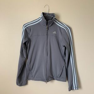 Grey And Blue Stripped Adidas Track Jacket